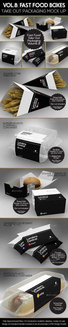 Fast Food Boxes Vol.8:Take Out Packaging Mock Ups - Food and Drink Packaging