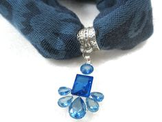 Blue Scarf Pendant, Scarf Jewelry, Scarf Necklace, Scarf Charm, Gift Under 20 on Etsy, $11.00