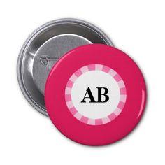 Pink monogram design button
