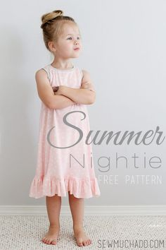 Free Summer Nightie Sewing Pattern, a cute nightgown pattern for girls made from. Free Summer Nightie Sewing Pattern, a cute nightgown pattern for girls made from knit fabric. Learn how to sew a kids summer nightie. Sewing Patterns For Kids, Sewing Projects For Beginners, Sewing For Kids, Baby Sewing, Free Sewing, Clothes Patterns, Knitting Patterns, Pattern Sewing, Knitting Projects