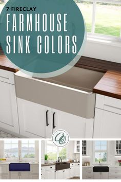 Looking fireclay farmhouse sink? Read our Oak's 7 Farmhouse Sink Colors (You Wish You Had) before buying your sink. Choosing a beautiful color for your farmhouse sink can complement the design and aesthetic appeal of your other kitchen fixtures and design features. This article will take a thorough look at seven farmhouse-sink colors and the styles they complement. Keep reading to find the perfect color for your kitchen sink. #farmhousekitchen Fireclay Farmhouse Sink, Farmhouse Sink Kitchen, Farm Sink, Shabby Chic Kitchen, Kitchen Sink, Modern Farmhouse, Farmhouse Style, Farmhouse Decor, Honeycomb Tile