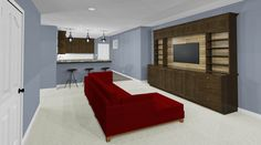 Perspective view of custom built in TV area