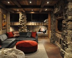 basement remodel rustic - love the built-in beds
