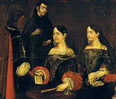 Two spanish ladies signing a contract with the devil. (Detail from painting)