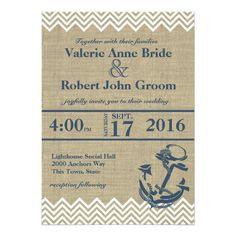 Nautical Anchor Chevron Wedding Card