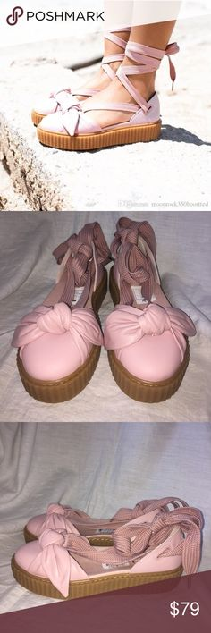 "5143a94f09bedc FENTY PUMA Rihanna Pink ""Bow Creepers"" Size 8 NEW This Creeper Bow Sandal  takes"