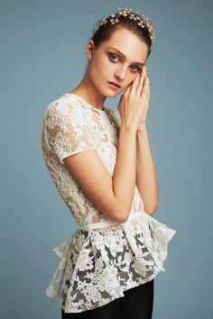 Reem Acra | Pre-Fall 2017 fashion collection | Sleeved white lace top | Ethereal