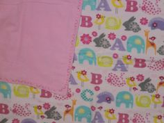 Pink ABC Animal Infant Receiving Blanket by StitchesByDee on Etsy, $12.00