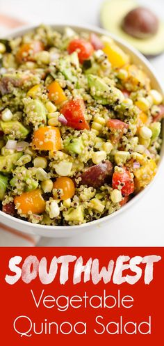 Southwest Vegetable Quinoa Salad is a light and refreshing vegetarian salad perfectly paired as a side dish with grilled meat, or served on it's own for a healthy and filling lunch recipe! #Vegetarian #Salad #HealthyRecipe