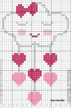 Hearts and clouds cross stitch Pixel Crochet Blanket, Tapestry Crochet, Crochet Chart, Cross Stitch For Kids, Cross Stitch Heart, Modern Cross Stitch Patterns, Cross Stitch Designs, Cross Stitching, Cross Stitch Embroidery