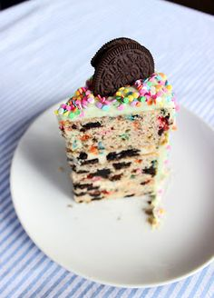 oreo funfetti cake with oreo cheesecake filling