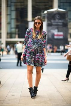 Winter-Style Reboot: 224 Street Snaps to Inspire You Now: Florals look decidedly Fall-ready on a sweet dress that's paired with buckled ankle boots. Source: Adam Katz Sinding