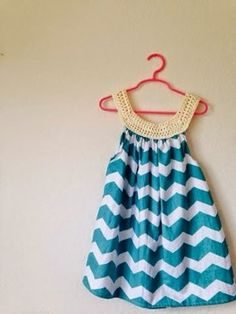 I Feel Pretty Chevron Dress tutorial - This easy sewing pattern combines sewing with a crocheted top for an easy and breezy summer dress.
