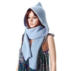 Women Winter Soft Woolen Hooded Hat Scarves Casual Warm Knitted Conjoined  Cap  4cf12b976391
