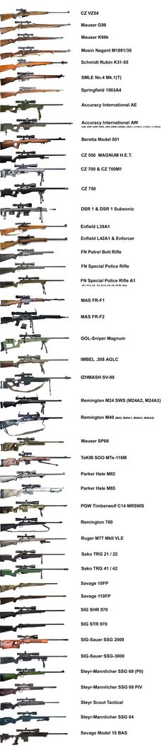 I don't see my RPR in the list. Must be an older pic. First line of defence. Sniper rifles with a muffler gives long range defence.