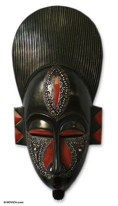 Ghanaian wood mask, 'In Silence' by NOVICA
