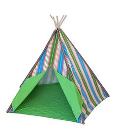 Look at this #zulilyfind! Green & Blue Stripe Teepee Tent by KingMax Product #zulilyfinds