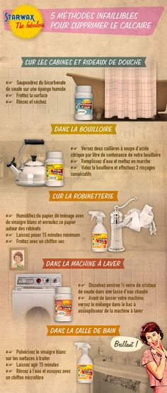 Starwax-the-Fabulous-infographie-calcaire. Diy Cleaners, Cleaners Homemade, Diy Cleaning Products, Cleaning Hacks, Diy Organisation, Desperate Housewives, Cleaning Business, Tips & Tricks, Surefire