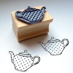 rubber stamp  TEA TIME by Citoyennes on Etsy