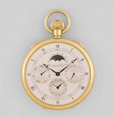 IWC Limitierte Herrentaschenuhr Runde, mechanische, limitierte Herrentaschenuhr mit Vollkalender un — Taschen- und Armbanduhren