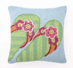 Bright Green Flip Flops! Beach Cottage Wool Hooked Pillow   $49.00