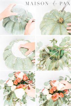 8a327d5e3f92 Pumpkin Floral Centerpiece (How to Make a Pumpkin Vase