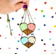 hand painted laser wood cut ice cream heart necklace / by jesiiii