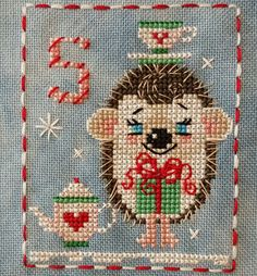 Animal Advent Calendar Day 5 Hattie Hedgehog Counted Cross Stitch. 2016