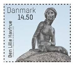 Danish stamp celebrating the 100th anniversary of The Little Mermaid in Copenhagen Harbour, 2013...love it