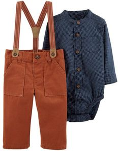 Baby Boy 2-Piece Bodysuit & Suspender Pant Set from Carters.com. Shop clothing & accessories from a trusted name in kids, toddlers, and baby clothes.
