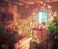Flower shop-Inside Art Print by Sophie Hei - X-Small Fantasy Landscape, Landscape Art, Fantasy Art, Art Environnemental, Anime Flower, Art Mignon, Inside Art, Environment Design, Environment Concept