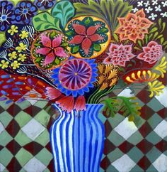 ARTFINDER: The Stripy Vase by Imogen Skelley - A really sumptuous original painting full of detail and interest from edge to edge. Beautifully rich colours and vibrant patterns throughout make this a real...