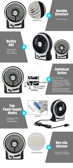Portable Rechargeable USB Mini Home Cooling Fan 4 Inches for PC Desktop Notebook Laptop at Banggood