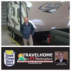 Congratulations to Vince on the purchase of his 2015 Cougar 21RBS #traveltrailer from Larry! #cougarrv #camping #RVing #travelhome