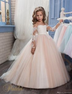 2017 Champagne Flower Girl Dress for Weddings Long Sleeves Ball Gown Puffy Lace Girl Party First Communion Dresses Pageant Gowns Kids Pageant Dresses, Wedding Dresses For Kids, Pageant Gowns, Wedding Party Dresses, Ball Dresses, Ball Gowns, Dress Prom, Tutu Dresses, Prom Party