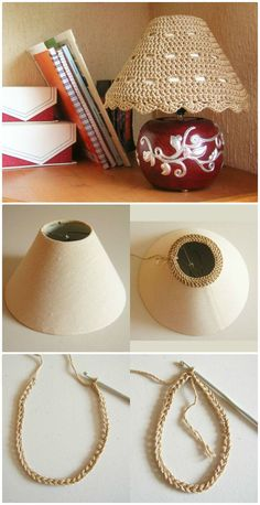Free Crochet Lampshade Cozy Pattern - 12 Free Crochet Lampshade Patterns to Light Up Your Home - DIY & Crafts Lampe Crochet, Crochet Lampshade, Crochet Doilies, Crochet Stitches, Crochet Patterns, Diy Craft Projects, Crochet Projects, Diy And Crafts, Crochet Decoration