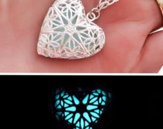 "Magical Frozen Heart ice blue glow in the dark illuminating filigree pendant necklace - silver plated 18"" chain"