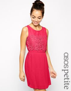 ASOS PETITE Exclusive Skater Dress with Pleated Skirt and Lace Top