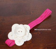 Handmade White and Pink Button Flower #Headband by #DCbabybuttons #buttonart