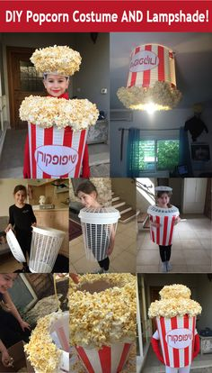 a Cool DIY Popcorn Costume AND Ceiling Lampshade! Homemade Popcorn Costume - from laundry basket to popcorn costume to lampshade in 2 hours!Homemade Popcorn Costume - from laundry basket to popcorn costume to lampshade in 2 hours! Halloween Bebes, Diy Halloween Costumes For Kids, Fete Halloween, Creative Costumes, Cute Costumes, Homemade Kids Costumes, Purim Costumes, Zombie Costumes, Halloween Couples
