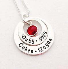 Layers of Love 2 ring personalised pendant set with swarovski crystal birthstone. Also available in Gold.  Order yours today at www.lovencherish.com