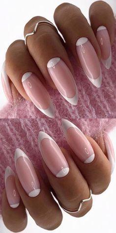 Cute Almond Nails, Almond Shape Nails, Acrylic Nail Designs, Nail Art Designs, Acrylic Nails, Winter Nail Designs, Manicure Ideas, Classy Nails, Nail Art Diy