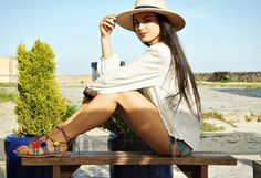 Full look: http://www.l-ace.com/   Ootd Bohemian summer sandals pompom style boho chic hat