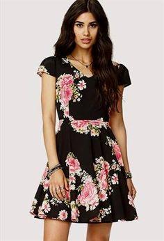 Cool black floral dress forever 21