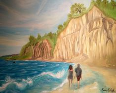 (c) Scarborough Bluffs with a Boat by Marwan Kishek - Oil on canvas 24 Scarborough Bluffs, Seascape Paintings, Oil On Canvas, Sky Sea, Clouds, Ocean Waves, Beaches, Boat, Artists