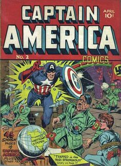 US - This isn't a propaganda but it is a comic book during the time of WWII showing capain american against the Nazi's.