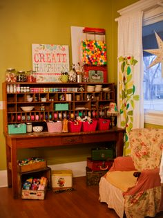 Awesome cabinet for craft storage - create happiness. Craft Room Storage, Craft Organization, Craft Rooms, Storage Ideas, Space Crafts, Home Crafts, Craft Space, Workspace Inspiration, Room Inspiration