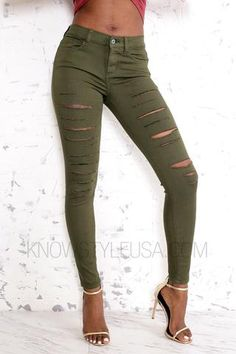 Distressed High-Rise Pants