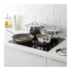 IKEA - OUMBÄRLIG, 7-piece cookware set, Made of stainless steel, which makes the pan durable and easy to clean.Using the lid brings the contents of the pot to a boil faster, so that you can save time, energy and money while lowering your environmental impact.Can also be used in the oven since it is made entirely of metal.