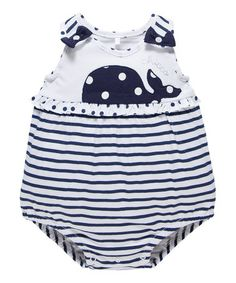ruffled shirt, whale deisgn, blue stripes on ruffles, blue sleeves with polka dot straps to match whale